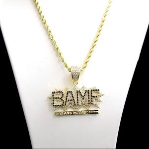 14k Gold Finish Lab Diamond BAMF Charm Chain